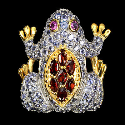 £3.90 • Buy Unheated Marquise Mozambique Rhodolite Tanzanite 925 Sterling Silver Frog Ring 8