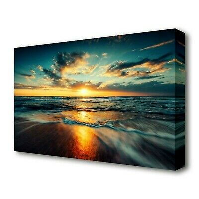 £60 • Buy East Urban Home, 'Fire Sunset Glow Beach' Photographic Print On Canvas