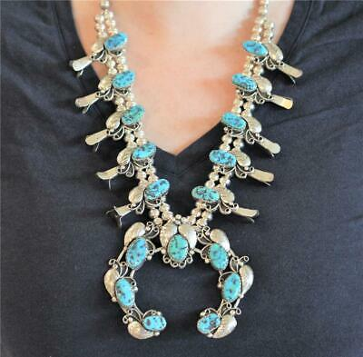 $ CDN1821.81 • Buy Massive Vintage Navajo Heavy Sterling Silver Turquoise Squash Blossom Necklace