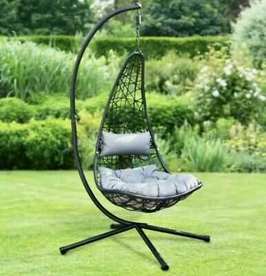 £259.90 • Buy New York Hanging Egg Chair With Stand & Cushion BRAND NEW & BOXED FREE P&P☀ 🚚💨