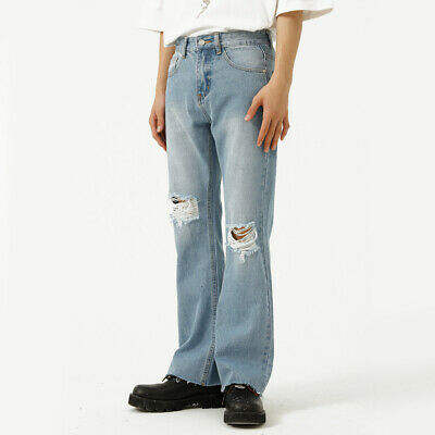 £30.99 • Buy Men Casual Knee Hole Denim Pants Flared Bootcut Ripped Jeans Trousers Loose Thin