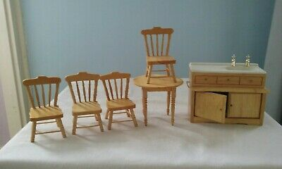 £10 • Buy Dolls House Furniture- Sink Unit,  Table And 4 Matching Chairs
