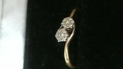 £40 • Buy 9ct Gold 2 Stone Diamond Ring Size S With White Setting 2g