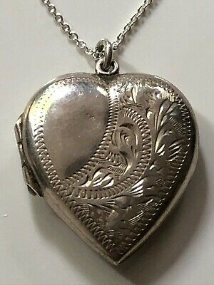 £14.99 • Buy Antique Victorian Sterling Silver Heart Locket Pendant & '925' Chain Necklace
