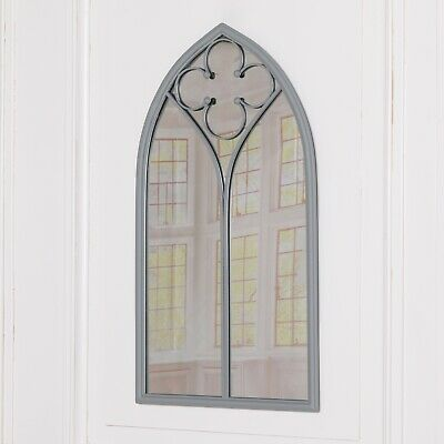 £88 • Buy Arched Large Grey Gothic Arch Shape Metal Wall Mirror With Flower Motif