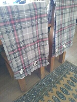 £3.20 • Buy LOVELY RING TOP FULLY LINED CHECK CURTAINS  66  X 72  FROM NEXT