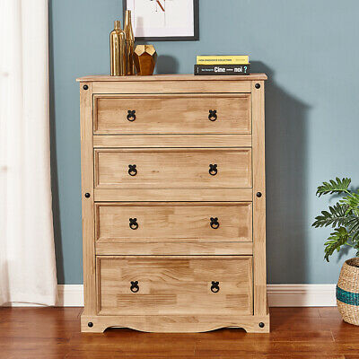 £69.99 • Buy Corona Solid Pine Chest Of Drawers 4 Storage Mexican Pine Bedroom Furniture
