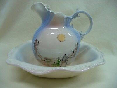 $ CDN43.71 • Buy Vintage Arnel'sCeramic Pitcher And Oblong Bowl Wolf Howling At Full Moon