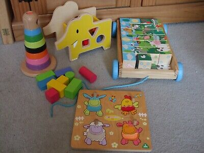 £3.50 • Buy Small Wooden Toddler Toy Bundle In Great Condition - Trolley, Shape Sorter Etc..