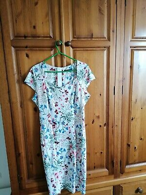£8.95 • Buy Marks And Spencer Collection Ivory Dress With Blue & Pink Flowers, Size 16.