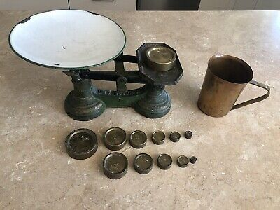 £15 • Buy Vintage Cast Iron Kitchen Balance Scales With 12 Weights & Brass Vintage Tanker