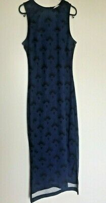 £9 • Buy H&M High Low Bodycon Blue Sleeveless Dress Size S