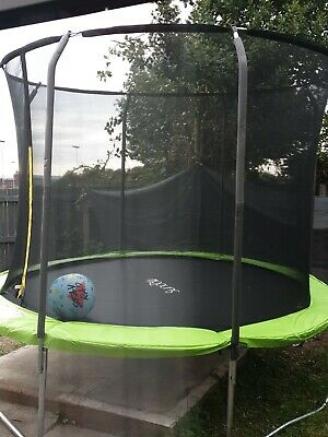 £100 • Buy 10FT Trampoline With Internal Safety Net Enclosure, Ladder + Rain Cover .