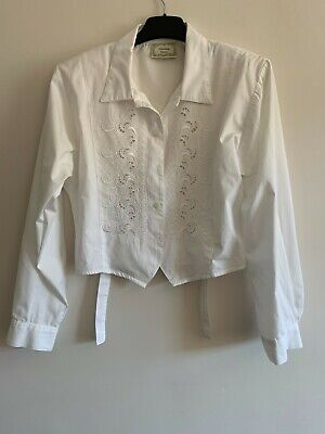 £2.50 • Buy Charlotte Halton White Vintage Embroidered Cropped Blouse Size 10 Used