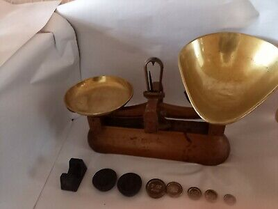£10.20 • Buy Vintage Avery Brass & Cast Iron Weighing Scales And Imperial Weights