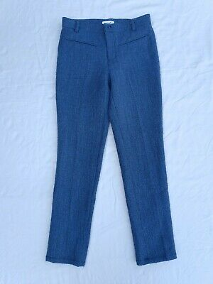 AU25 • Buy Scanlan Theodore Blue Tweed Style Trousers Size 6