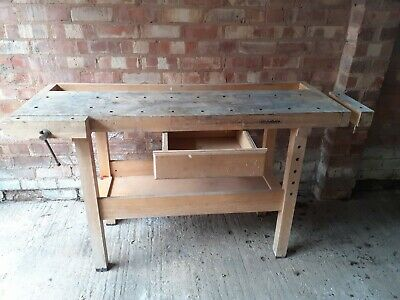 £95 • Buy Wooden Work Bench With 2 Vices Shelf And Draw