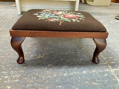 £29.99 • Buy Vintage Small Wooden Footstool With Beautiful Tapestry Top Queen Anne Legs