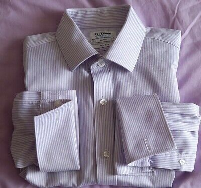 £7.99 • Buy T.M. Lewin Slim Fit Non-Iron Double Cuff 16.5  Neck Lilac& White Pinstripe Shirt