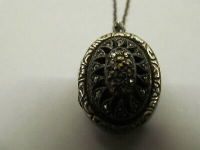 £50 • Buy Stunning Victorian Silver & Marcasite Locket Pendant And Fine Chain