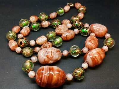 £28 • Buy Antique Deco Czech Neiger Pressed Glass & Sommerso Bead Necklace Green Beige Vgc