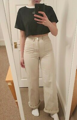 £9 • Buy Pull And Bear Wide Leg Cream Jeans Size 6