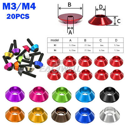 $5.60 • Buy 20pcs M3/M4 Aluminum Alloy Cup Head Gasket Washer Colorful Anodic Oxidation 2020
