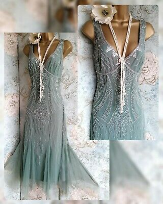 £89 • Buy Principles Vtg Lace Green Bead 20s Deco Gatsby Flapper Evening Party Dress 12