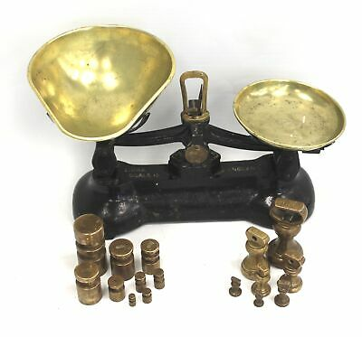 £9 • Buy Vintage LIBRA SCALE CO ENGLAND CAST IRON BALANCE SCALES Brass Weights  - L01