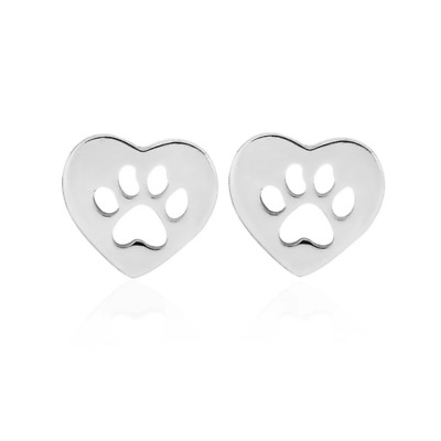 £3.99 • Buy Pawprint Heart Earrings, Silver Paw Print Dog Cat Animal Lover Silver Jewellery