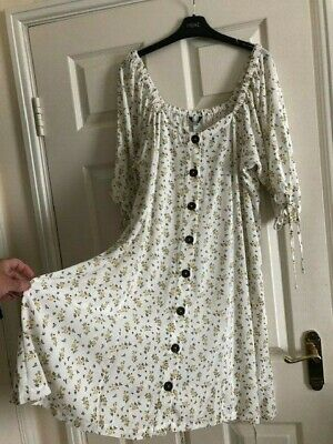 £10.95 • Buy New NEXT Cream With Ditsy Yellow Floral Print Button Front Tea Dress, Size 18