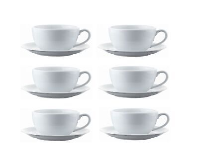 £14.95 • Buy 6 Cappuccino Cups & Saucers Large White Porcelain Cup 34cl Drink Mug 16cm Saucer