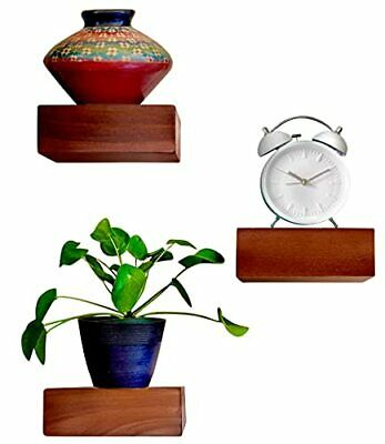 $38.05 • Buy Solid Wood Small Size Floating Wall Shelves Set Of 3 Home Decor In Mahogany C...