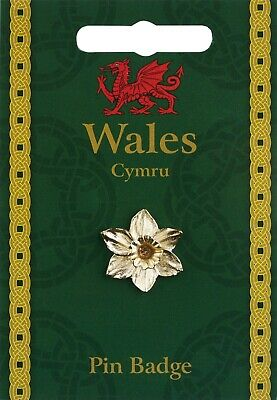£3 • Buy Welsh Daffodil Pin Badge Hand Cast In England In Fine Pewter & Gold Plated