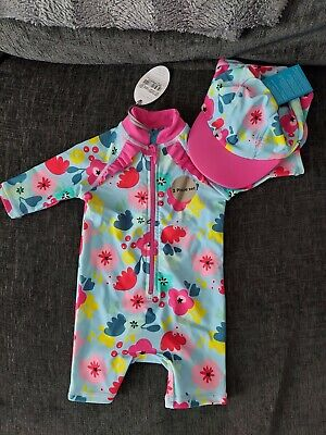 £2.70 • Buy Baby Girls Swimsuit And Hat Age 0-3 Months BNWT!