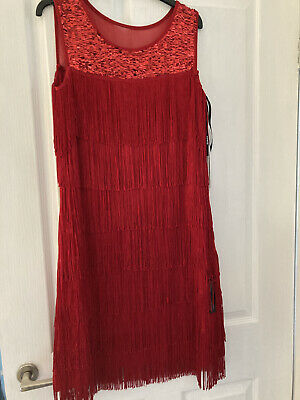 £19.99 • Buy Ladies Stunning Red Sequin Flapper/tassel Style Dress Size 12 New Tagged.