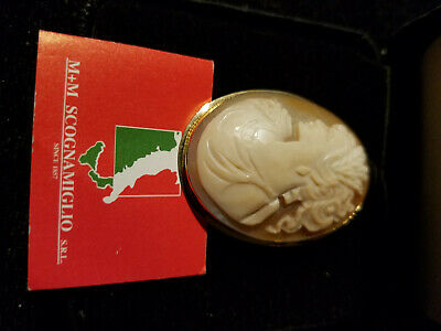 $275 • Buy 14k Yellow Gold - M & M Scognamiglio Cameo Brooch Pin - Pendant W/papers