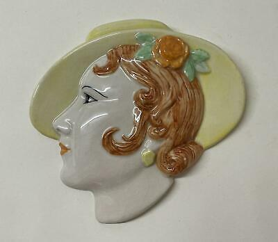 £44.99 • Buy Vintage Moorland Pottery / Cope & Co Art Deco Wall Face Mask