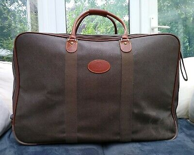 £345 • Buy Vintage Mulberry Scotchgrain Leather Suitcase Large Travel Weekend Bag Wheels