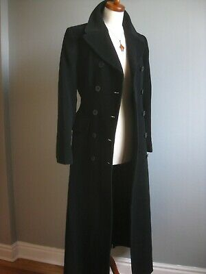 £299.99 • Buy VINTAGE Black Wool TRENCH COAT ADMYRA UK 10-12 Duster Fit Flare Riding Victorian