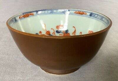 £10.50 • Buy 18th C. Brown Glaze Tea Cup Wine Bowl Painted With Blue White Orange Blossom