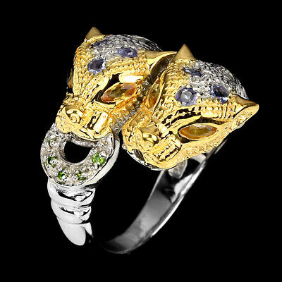 £0.70 • Buy Unheated Round Tanzanite Chrome Diopside Sapphire 925 Sterling Silver Tiger Ring