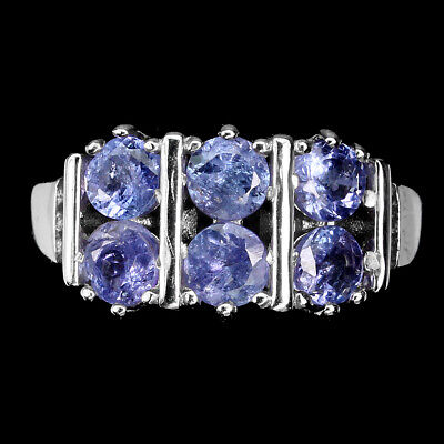 £0.70 • Buy Round Blue Tanzanite Cz 14K White Gold Plate 925 Sterling Silver Ring Size 8