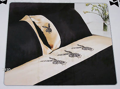 AU60 • Buy Playboy Bunny Black Leopard Double Bed Satin Fitted Sheet Set New