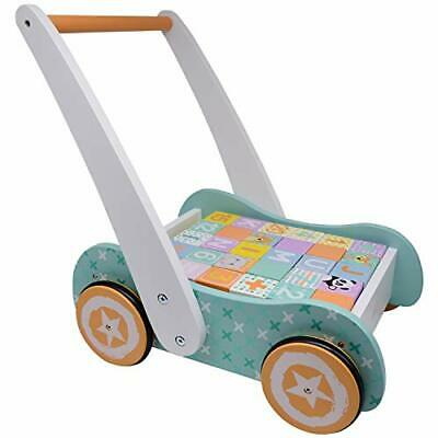 £54.99 • Buy Wooden Baby Walker With Blocks - Wooden Push Along Trolley - 123 And ABC Blocks