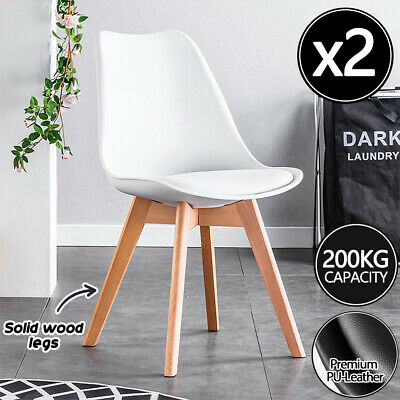 AU49 • Buy 2pcs Kitchen Dining Chairs Chair Replica PU Leather Cafe Chair Wooden Legs