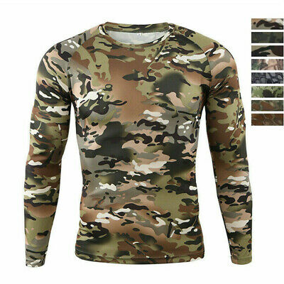 $13.49 • Buy Mens Camo Tactical T-Shirts Long Sleeve Quick Dry Light Combat Casual Wicking