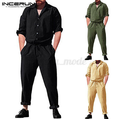 $18.06 • Buy Fashion Mens Long Sleeve Jumpsuit Playsuits Romper Workwear Cargo Trousers Pants