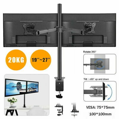 £15.99 • Buy 19 - 27   Fully Adjustable Double Monitor Mounts Bracket Dual-arm Desk Pc Stands