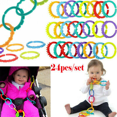 £5.29 • Buy 24x Rainbow Teether Ring Links Plastic Baby Kids Infant Stroller Play Mat Toys *